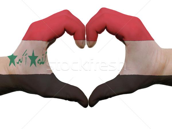 Hart liefde gebaar Irak vlag kleuren Stockfoto © vepar5