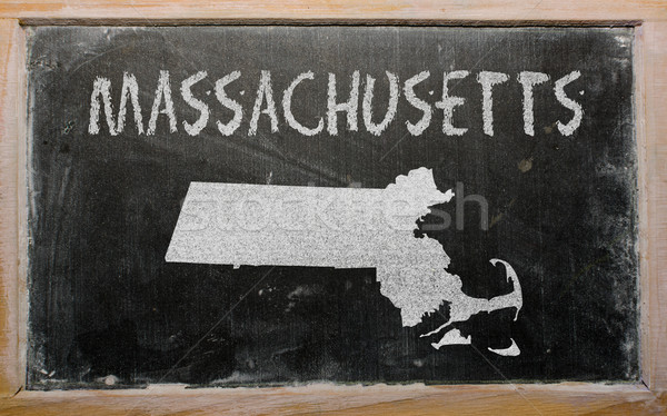 outline map of us state of massachusetts on blackboard  Stock photo © vepar5