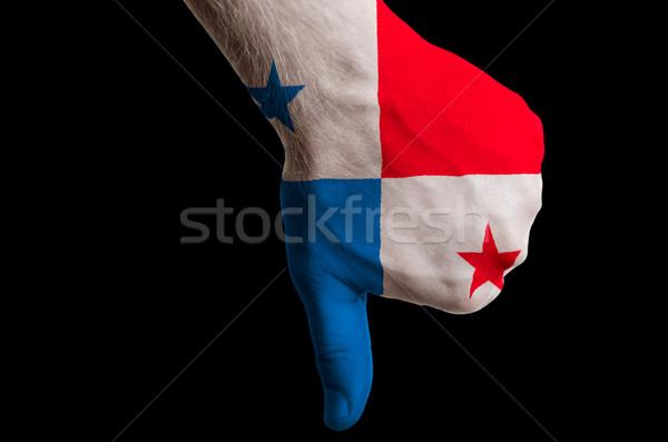 Panama bayrak başparmak aşağı jest başarısızlık Stok fotoğraf © vepar5