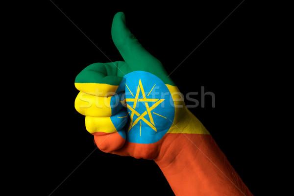 Etiopia bandiera pollice up gesto eccellenza Foto d'archivio © vepar5