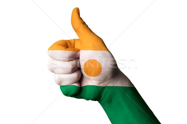 Нигер флаг большой палец руки вверх жест превосходство Сток-фото © vepar5