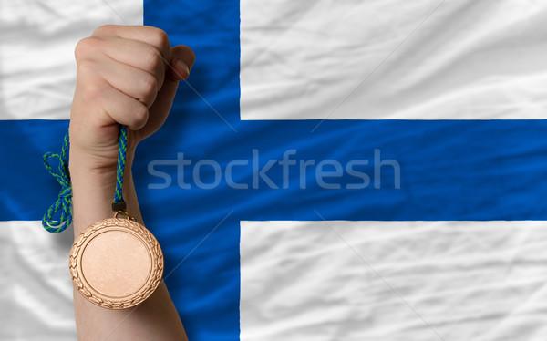 Bronze medalha esportes bandeira Finlândia Foto stock © vepar5