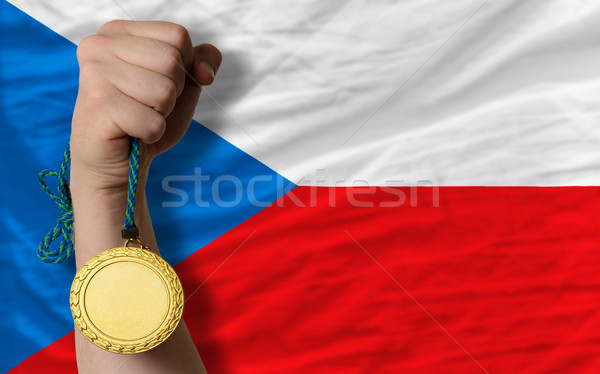 Gold medal for sport and  national flag of czech    Stock photo © vepar5