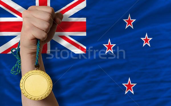 Aranyérem sport zászló Új-Zéland nyertes tart Stock fotó © vepar5