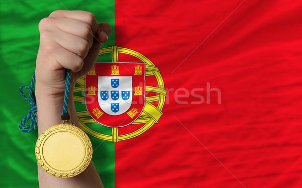 Altın madalya spor bayrak Portekiz kazanan Stok fotoğraf © vepar5