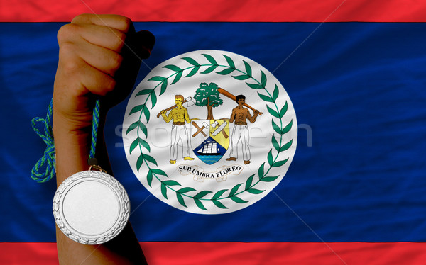 Ezüst érem sport zászló Belize tart Stock fotó © vepar5
