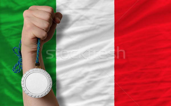Silver medal for sport and  national flag of italy    Stock photo © vepar5