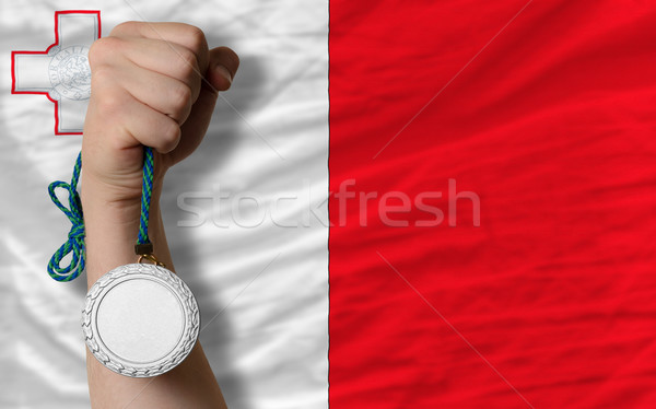 Silver medal for sport and  national flag of malta    Stock photo © vepar5