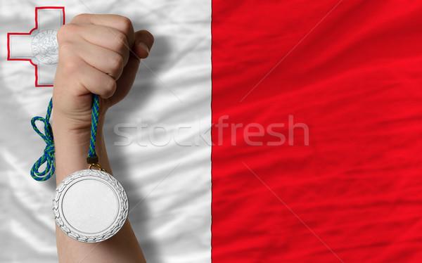 Zilver medaille sport vlag Malta Stockfoto © vepar5
