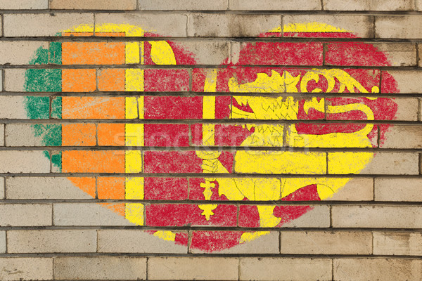 heart shape flag of sri lanka on brick wall Stock photo © vepar5