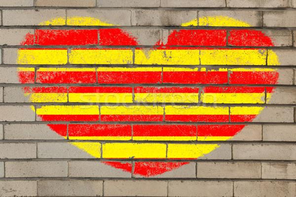 heart shape flag of catalonia on brick wall Stock photo © vepar5