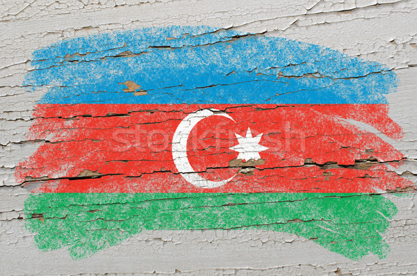 flag of azerbaijan on grunge wooden texture painted with chalk   Stock photo © vepar5