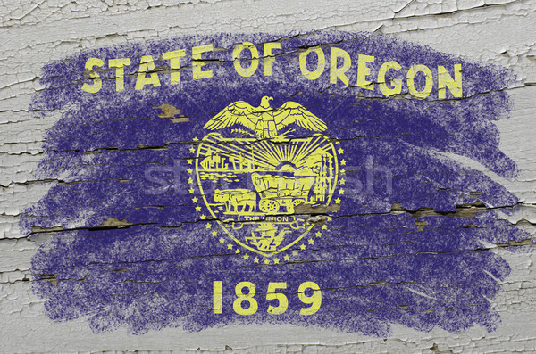flag of US state of oregon on grunge wooden texture precise pain Stock photo © vepar5