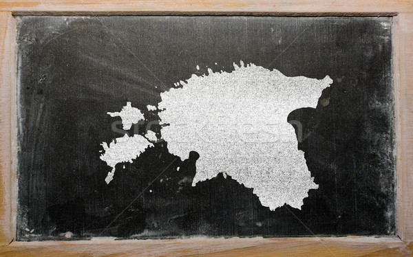 Schets kaart Estland Blackboard tekening Stockfoto © vepar5