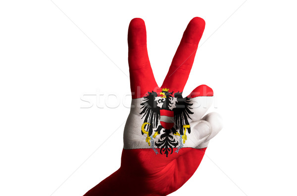 austria national flag two finger up gesture for victory and winn Stock photo © vepar5