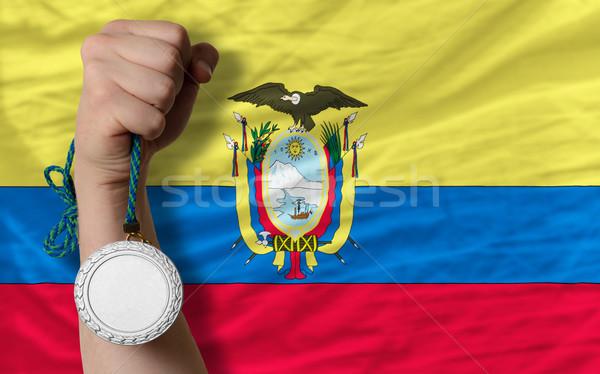 Silver medal for sport and  national flag of ecuador    Stock photo © vepar5