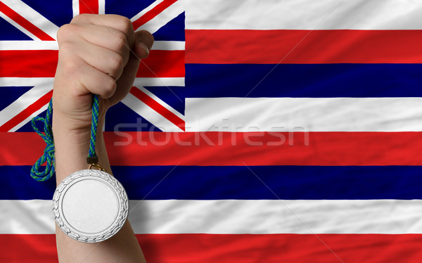Argent médaille sport pavillon Hawaii Photo stock © vepar5