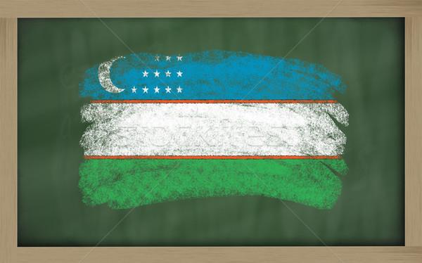 Zászló Üzbegisztán iskolatábla festett kréta szín Stock fotó © vepar5