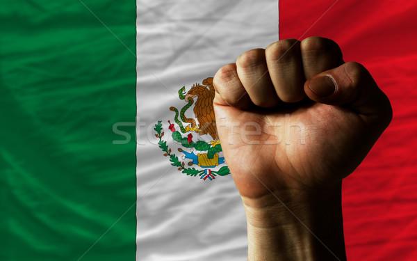 Stockfoto: Vuist · Mexico · vlag · macht · compleet · geheel