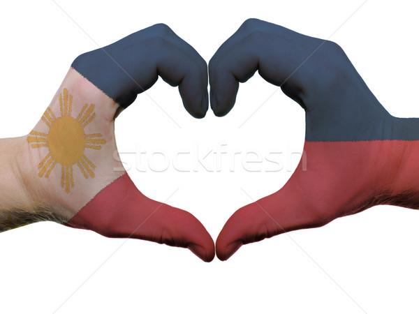 Coeur amour geste Philippines pavillon couleurs Photo stock © vepar5