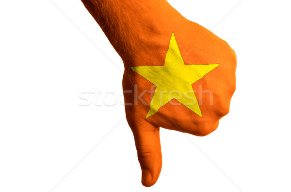 Вьетнам флаг вниз жест провал Сток-фото © vepar5