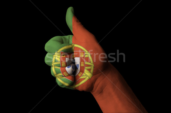 portugal national flag thumb up gesture for excellence and achie Stock photo © vepar5