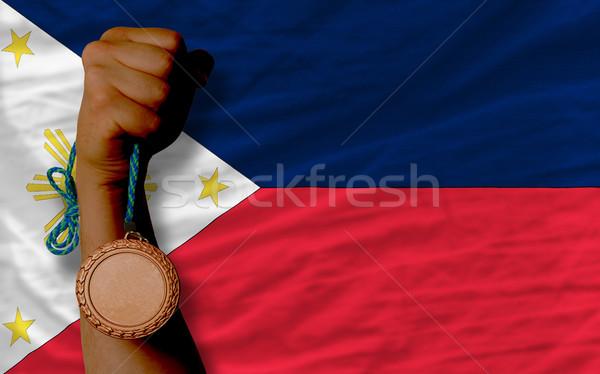 Brąz medal sportu banderą Filipiny Zdjęcia stock © vepar5