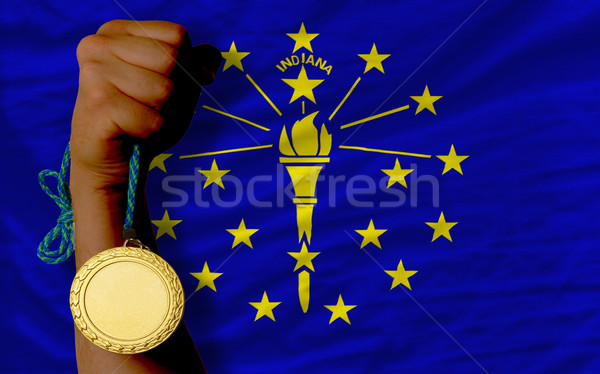 Gouden medaille sport vlag amerikaanse Indiana winnaar Stockfoto © vepar5