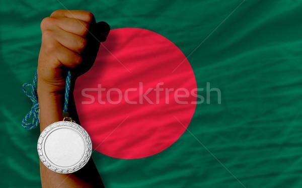 Ezüst érem sport zászló Banglades tart Stock fotó © vepar5