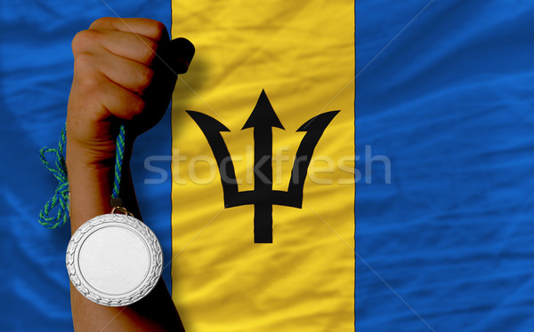 Silver medal for sport and  national flag of barbados    Stock photo © vepar5