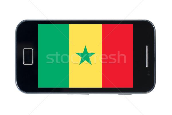 Smartphone pavillon Sénégal téléphone téléphone signe Photo stock © vepar5
