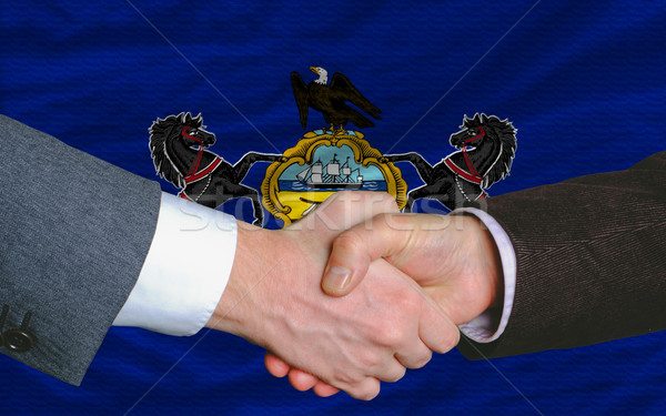 in front of american state flag of pennsylvania two businessmen  Stock photo © vepar5