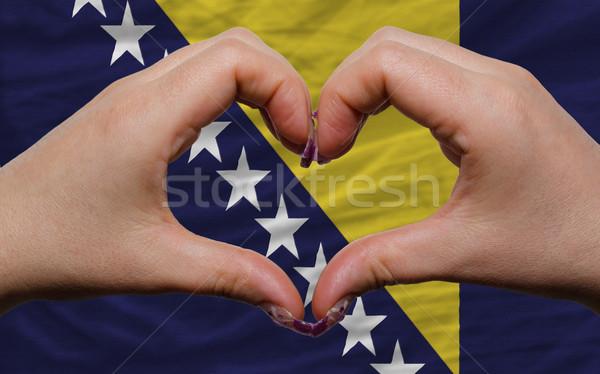 over national flag of bosnia herzegovina showed heart and love g Stock photo © vepar5