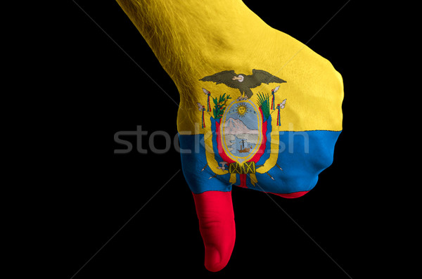 ecuador national flag thumbs down gesture for failure made with  Stock photo © vepar5