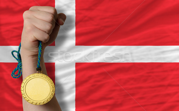 Gouden medaille sport vlag Denemarken winnaar Stockfoto © vepar5