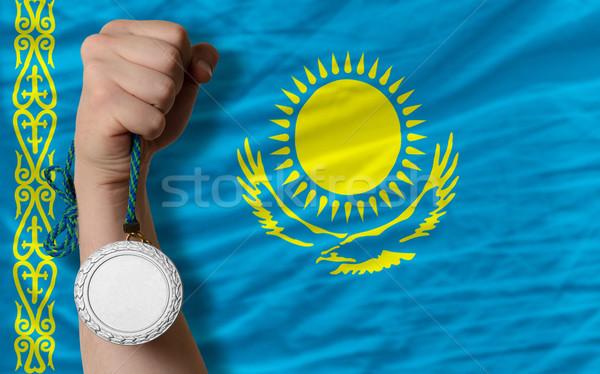 Ezüst érem sport zászló Kazahsztán tart Stock fotó © vepar5