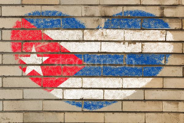 心臓の形態 フラグ キューバ レンガの壁 中心 ストックフォト © vepar5