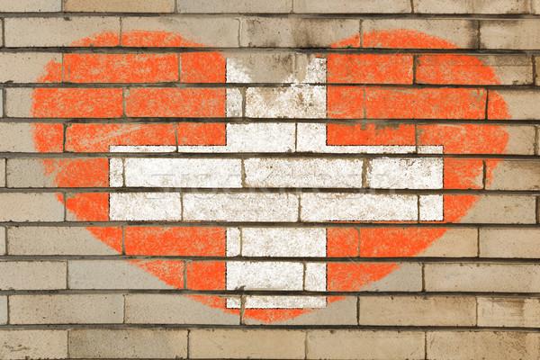 Forma de coração bandeira parede de tijolos coração cores Foto stock © vepar5
