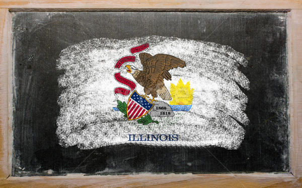 flag of US state of illinois on blackboard painted with chalk Stock photo © vepar5