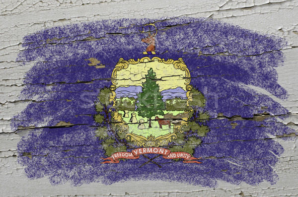 flag of US state of vermont on grunge wooden texture precise pai Stock photo © vepar5