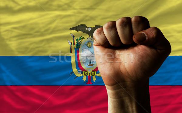 Hard fist in front of ecuador flag symbolizing power Stock photo © vepar5