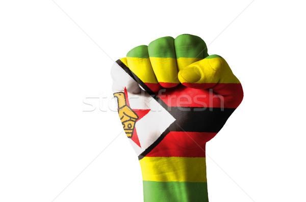 Yumruk boyalı renkler Zimbabve bayrak düşük Stok fotoğraf © vepar5