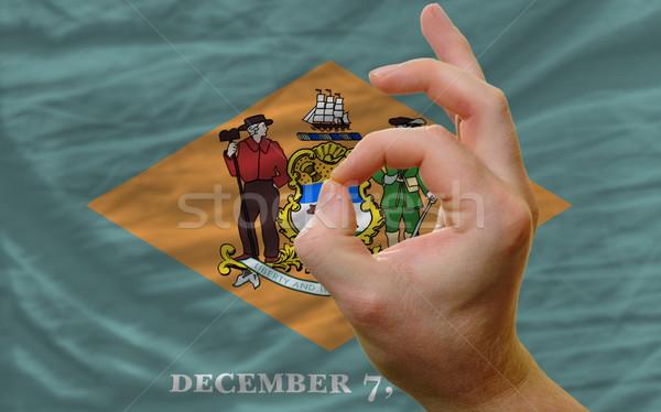 Gebaar Delaware vlag man tonen Stockfoto © vepar5