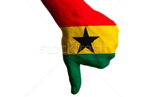 ghana national flag thumbs down gesture for failure made with ha Stock photo © vepar5