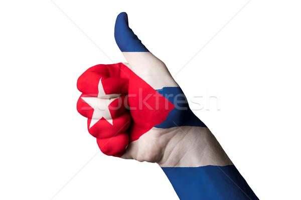 Cuba bandiera pollice up gesto eccellenza Foto d'archivio © vepar5