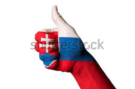 Eslováquia bandeira polegar para cima gesto excelência Foto stock © vepar5