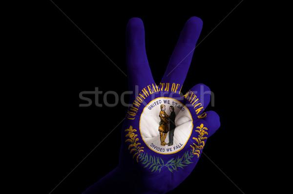 Kentucky bandeira dois dedo para cima gesto Foto stock © vepar5