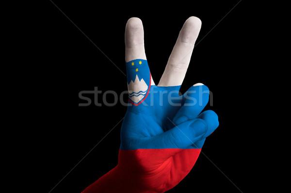 Slovenia bandiera due dito up gesto Foto d'archivio © vepar5