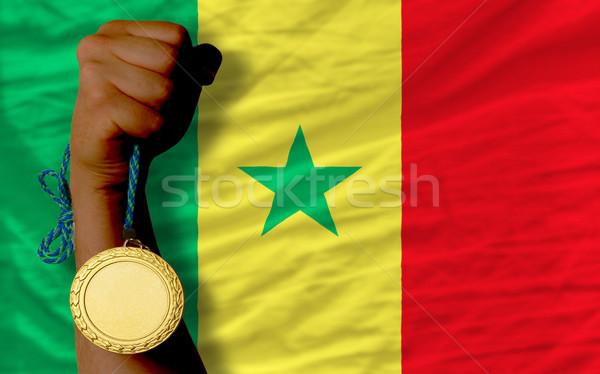 Aranyérem sport zászló Szenegál nyertes tart Stock fotó © vepar5