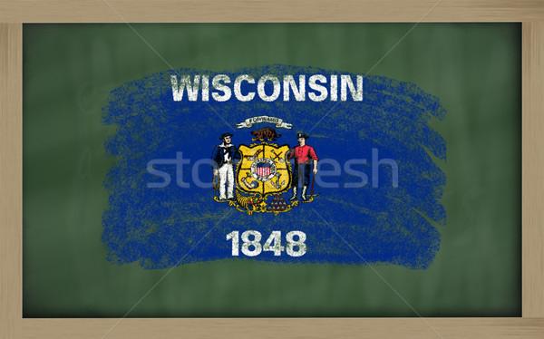 флаг Висконсин доске окрашенный мелом американский Сток-фото © vepar5